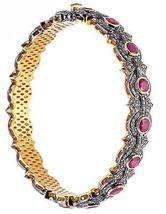 Unique Design Vintage Inspired 7.50Ctw Rose Cut Diamond Silver Ruby Brac... - $1,230.37