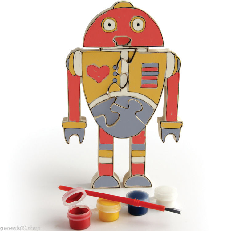 Used, Puzzle Robot Wooden Stand Up Jigsaw with 4 Color Paint Set and Brush for School for sale  USA
