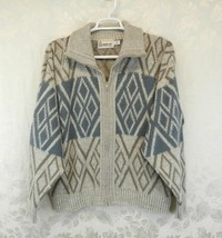Vintage London Fog Cardigan Sweater Size XL Blue Beige Zipper Pockets  - $16.82