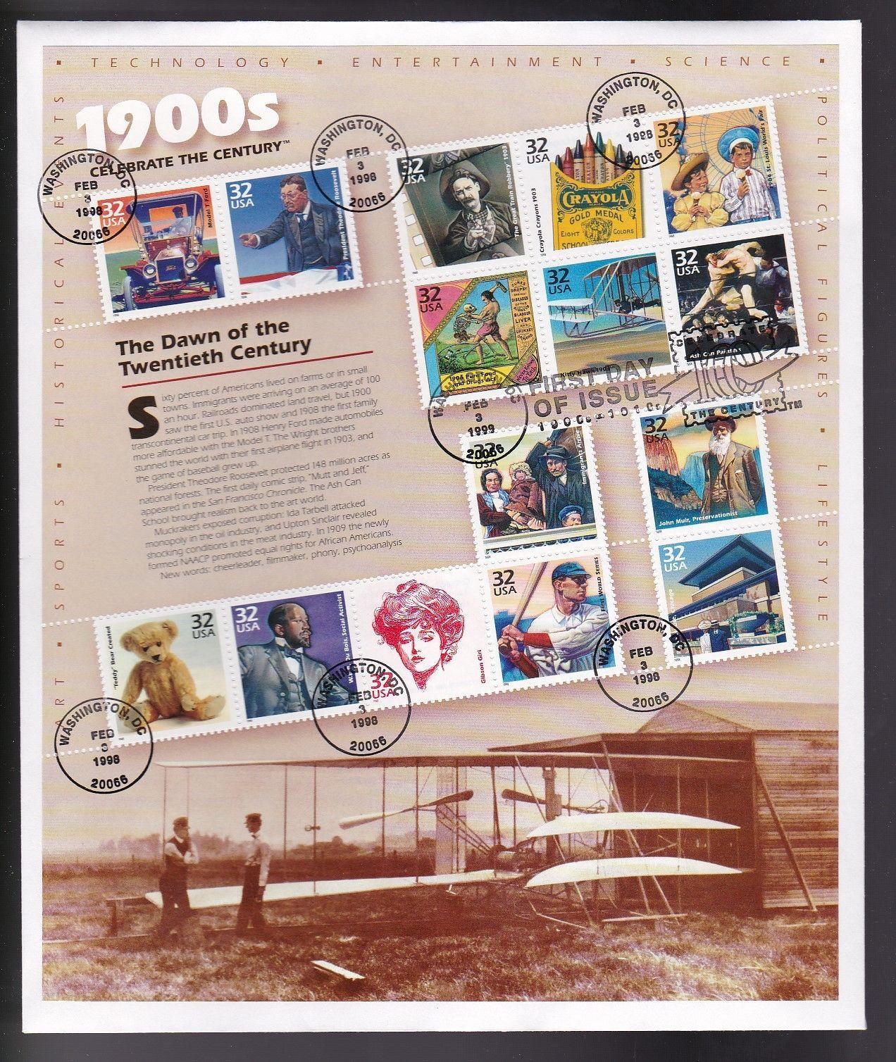 CELEBRTE THE CENTURY 1900's #3182a-o FULL SHEET FDC WASHINGTON DC 2/3/1998