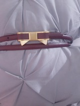 Vintage Brooks Brothers Genuine Leatyer Plum colored skinny bow belt - $26.00