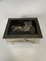 Vintage Metal Silver & Black Carriage Horses Jewelry Casket Case Trinket... - $19.80