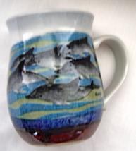 Swimming Dolphins Porpoise Hand Painted Signed Mug Otagirl Japan Origin... - $20.99