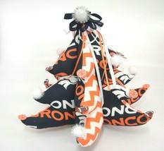 Denver Broncos Fan Fabric Stuffed Christmas Tree Decorated Footballs Pom... - $20.78