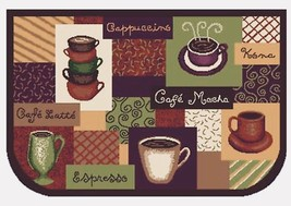 Coffee Cup Kitchen Area Rug Non Slip Backing Machine Washable D-Shaped M... - $13.06