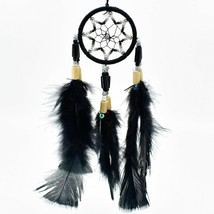 "Handcrafted Miniature 8"" Dreamcatcher Plastic & Wood Beads w Black Feathers"