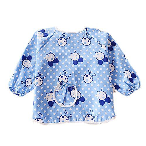 2 PCs Blue Ant Cotton Waterproof Sleeved Bib For 1-2 Years old, M