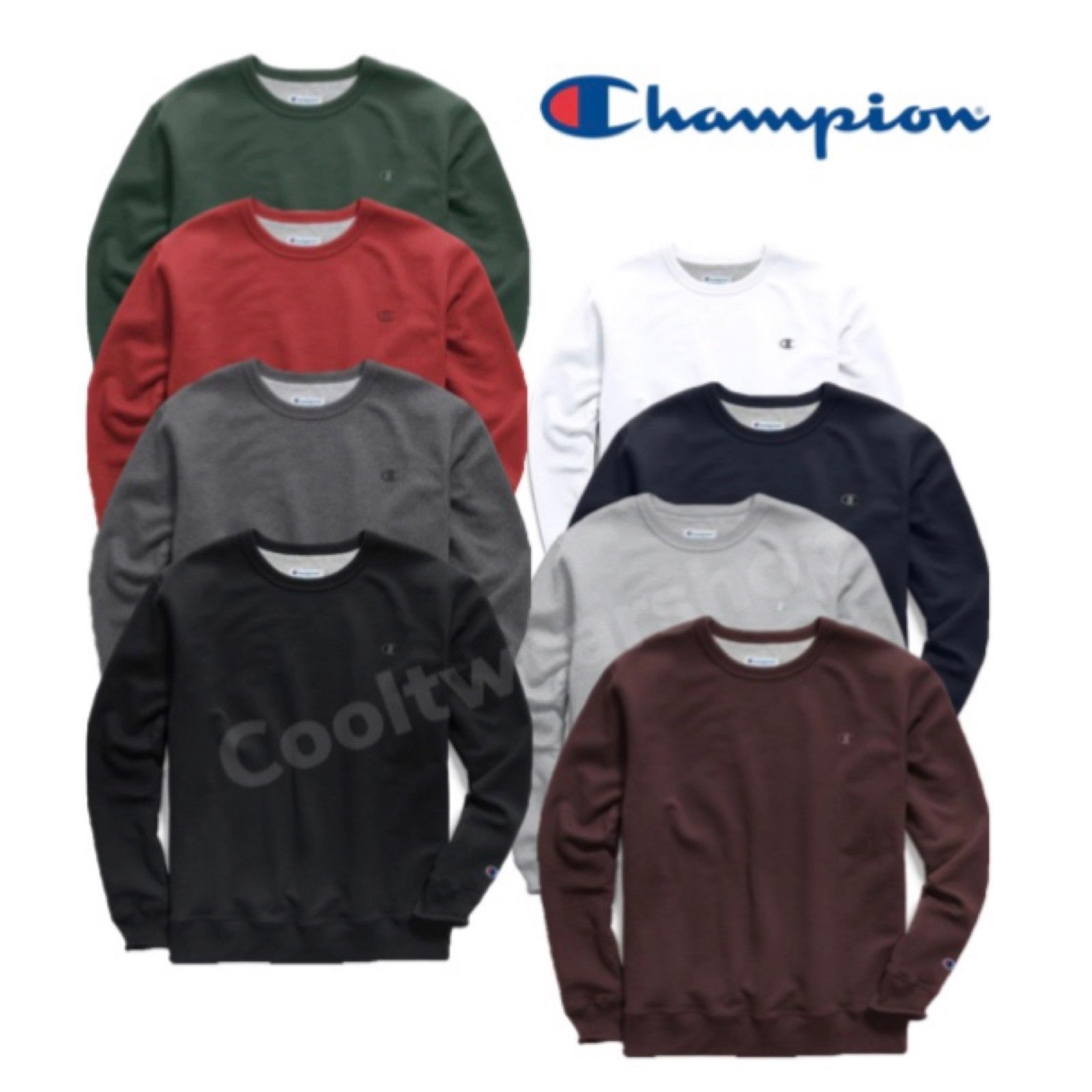 Champion Powerblend Men's Fleece Crew Long Sleeves Sweatshirt S0888 407D55