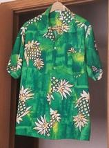 Made In Hawaii Brand Aloha Hawaiian Shirt Green Pineapples  - $12.66