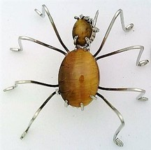 Tiger Eye Spider Stainless Steel Wire Wrap Brooch 13 - $28.00