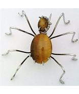 Tiger Eye Spider Stainless Steel Wire Wrap Brooch 13 - $28.97
