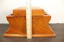 "Vintage Large 12"" Dunhill Wood Pipe & Cigar Holder Stand Rack Stash Box Tobacco image 7"