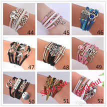 DIY Infinity Charm Antique Cross fashion Leather Bracelets Multilayer Heart Tree