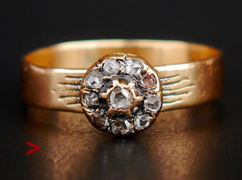 Antique European Halo Ring solid 14K Gold Diamonds Ø US 9 / 2.7gr - $386.83