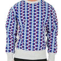 Sale Sweatshirt Champion 212429 Reverse Weave Man Round Neck Grey Blue Fleece Wi image 4