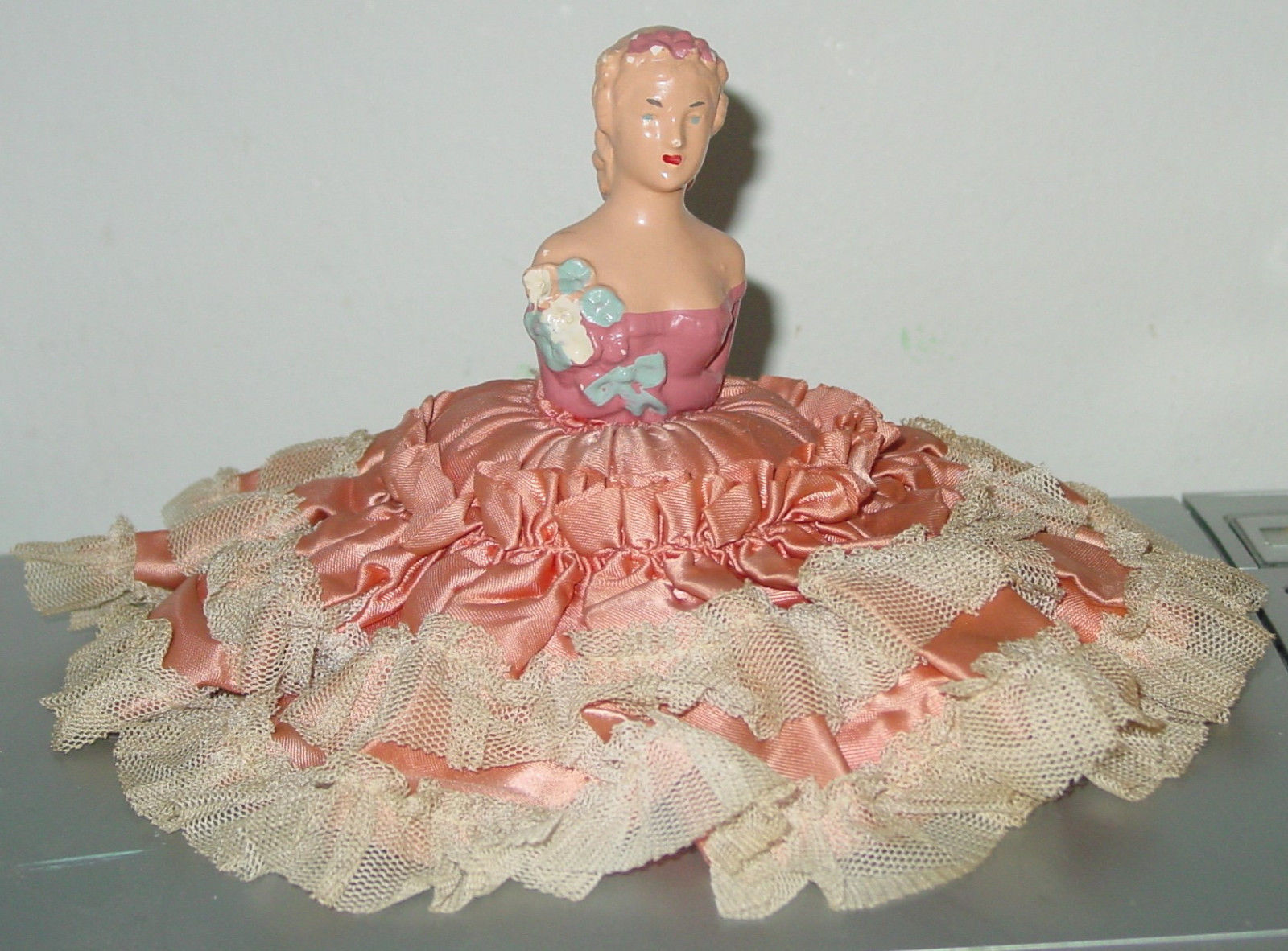 "Vintage All Original Chalkware Half Doll Pincushion 5"" high, skirt 9"" across"