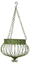 S/3 Hanging Basket Planters Green Victorian Style 3 sizes Wrought Iron M... - $99.95