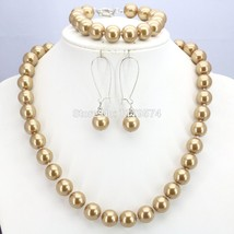 Popular Christmas Gift Women Girls 12mm Gold-Color Round Shell Pearl Bea... - $24.74