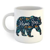 Mama Bear Retro Floral Coffee Mug - $12.38