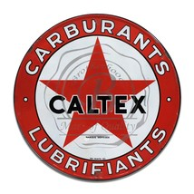 Carburants Lubrifriants Caltex Reproduction Circle Aluminum Sign - $16.09