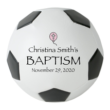 Personalized Custom Regulation Size Soccer Ball Pink Balloon Baptism Gift - $59.95