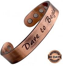 Reevaria - Pure Copper Magnetic Heavyweight 'Dare To Begin' Cuff Bracele... - $36.64