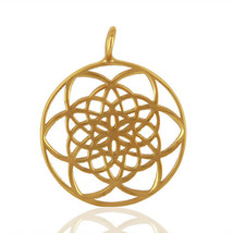 Flower Of Life 18K Gold Plated Silver Handmade Charm Pendant Jewelry Fin... - $12.53