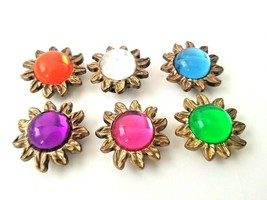 6 VTG Floral Button Covers Blue Clear Green Orange Pink Purple Gold Tone... - $19.50