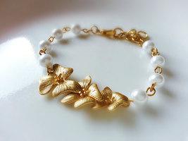 Matte Gold Orchid Flower Trio Pearl Bracelet Orchid Bracelet Bridesmaid ... - $42.00