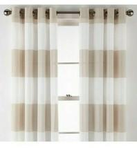 (1) JCP Home Metallic Stripe Pebble Beach Grommet Sheer Curtain Panel 50... - $37.39