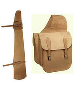 Western Trail Horse Natural Roughout Leather Saddle Bag Bags + Gun Scabbard - $68.11