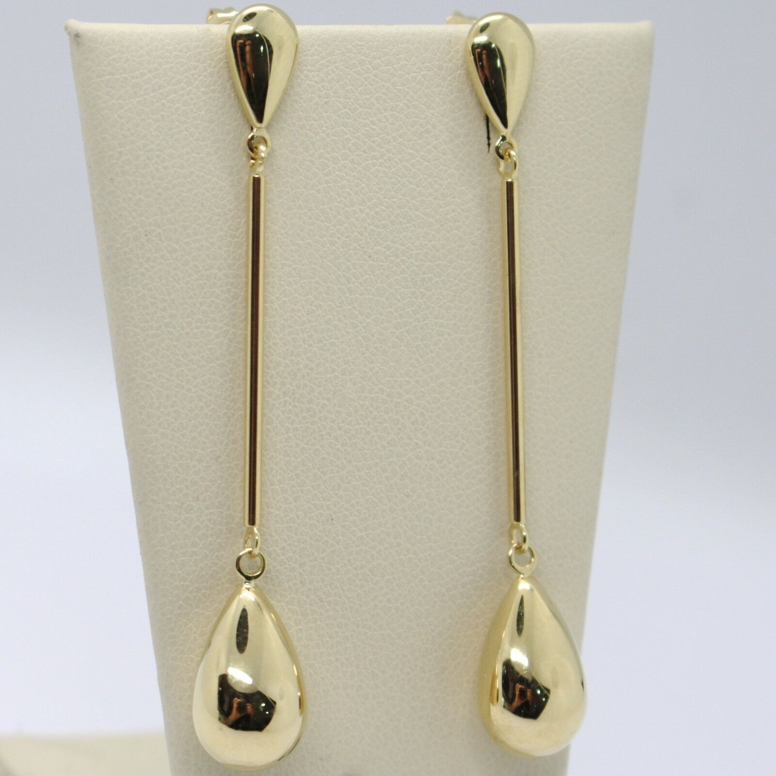 18K YELLOW GOLD PENDANT EARRINGS, TUBE AND BIG DROP, 2.4 INCHES, MADE IN ITALY