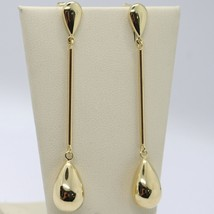 18K YELLOW GOLD PENDANT EARRINGS, TUBE AND BIG DROP, 2.4 INCHES, MADE IN ITALY image 1