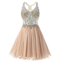 Short V Neck Prom Dresses Sexy Beaded Chiffon Homecoming Dress Birthday ... - $124.00