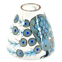 Ceramic Hand Painted Peacock Design Espresso Cup Mug Handmade Guatemala image 7