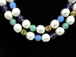 "White Purple Blue Mint Green Beaded Necklace 4 Color Beads Vintage Goldtone 36"" - $18.99"