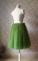 6-layer Puffy Tulle Skirt Women's Tulle Ballerina Skirt Midi Length Green image 5