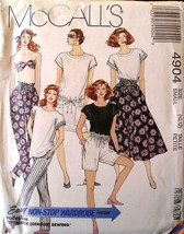 McCall's Pattern 4904 Size 10-12 Misses Top /Bandeau Skirt & Pants /Shor... - $6.60