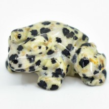Dalmatian Dacite Gemstone Tiny Miniature Spotted Frog Figurine Hand Carved China image 2