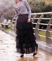 Women Black Tiered Tulle Skirt Full Long Black Tulle Layered Skirt Plus Size image 3