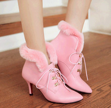 PB153 Romantic pointy snow booties w rabbit hairs, US Size 4-8.5, pink - $1.716,45 MXN