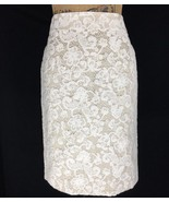 Banana Republic 6 Med Pencil Skirt Beige Cream Lace Overlay Stretch Work... - $27.95