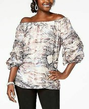 MSK Womens Ivory Water Color Off Shoulder Pouf Sleeve Evening Top M - $48.99