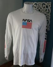 NASA Mens White Long Sleeve Graphic Tee Space American Flag T Shirt Vari... - $26.69