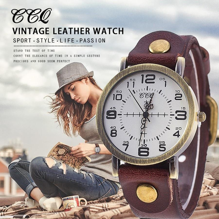 Ng ccq vintage cow leather bracelet watch women wrist watches casual luxury quartz watch relogio