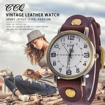 Hot Selling CCQ Vintage Cow Leather Bracelet Watch Women Wrist Watches C... - $17.70 CAD