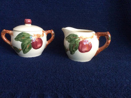 Vintage Franciscan Apple Individual Sugar Bowl and Creamer Pottery - $19.75