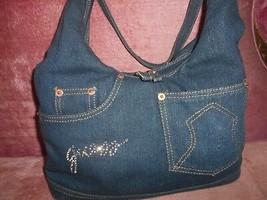 Vintage Guess Handbag Denim - Red Liner - $68.50