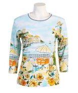 "Jess N Jane ""Seaport"" Dressy Ladies Rhinestone Cotton T Shirt White-medium - $37.99"