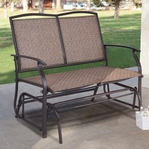 Brown 2 Person Patio Glider Sofa Bench Outdoor Furniture Garden Deck Porch - $98.50